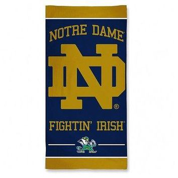 "UNIVERSITY OF NOTRE DAME 30"" X 60"" BEACH TOWEL NEW & OFFICIALLY LICENSED"