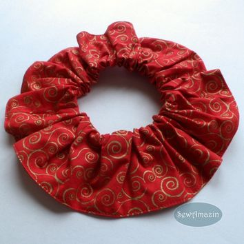 Jingle Bells Red and Gold Swirls Pet Scrunchie Neck Ruffle
