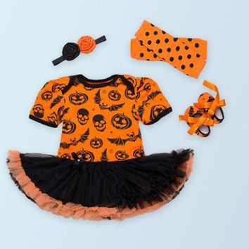New Fashion girls pumpkin rompers jumpsuits lace tutu toddler shoes leg warmer and headbands 4 pcs clothing sets Halloween gifts