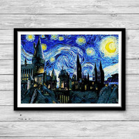 Hogwarts Castle, Starry Night Print, Van Gogh, Reproduction of Vincent Van Gogh Starry Night, Hogwarts Art Print, Harry Potter print