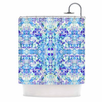 "Carolyn Greifeld ""Floral Fantasy Blue Reflection"" Purple White Shower Curtain"