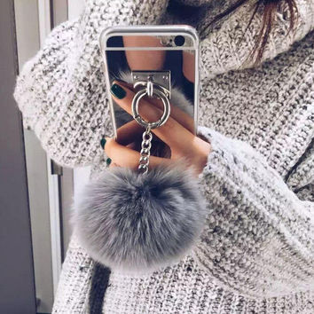 Fur Ball Chain Mirror Protective Case For iPhone 7 7 Plus 6 6S 6 Plus 6S Plus+ Nice Gift Box