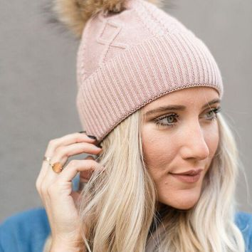 Diamond Knit Beanie With Faux Fur Pom