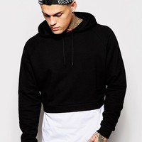 ASOS | ASOS Cropped Hoodie With Mock T-Shirt Hem at ASOS