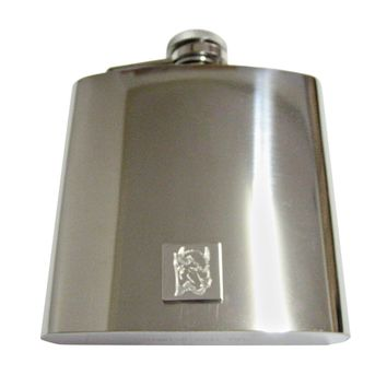 Silver Toned Etched Bison Head 6 Oz. Stainless Steel Flask