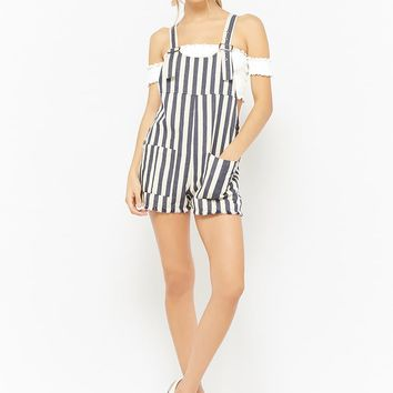Striped Frayed Overall Shorts