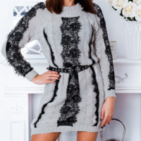 Autumn and winter dress temperament lace stitching knitted sweater skirt women