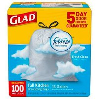 Glad® OdorShield Tall Kitchen Drawstring Trash Bags Fresh Clean - 13gal 100ct