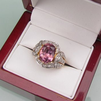 Spinel Anniversary Ring in 14k Gold and Diamond Halo Setting September Birthstone Gemstone