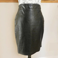 Black Leather Skirt, High Waisted Short Shirt, Genuine Leather, Pencil Skirt, Vintage Size 8 Ladies Clothing