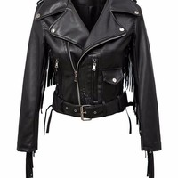 Fringe Leather Rider Jacket