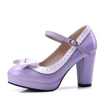 Sexy Womens Bowtie Ankle Strap High Heel Ladies Platform Pumps Party Shoes
