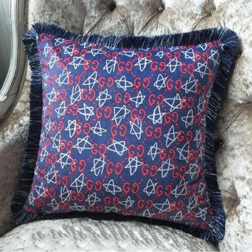 GUCCI New Fashion More Letter Star Graffiti Print Tassel Home Sofa Pillowcase Pillow Purple