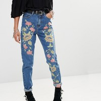 Glamorous High Rise Mom Jeans With Floral Embroidery at asos.com