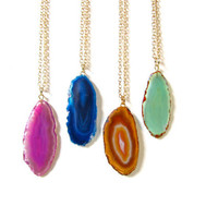Agate Necklace, Geode, Polished Rock, Pick Your Favorite Colour