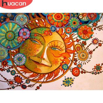 5D Diamond painting Abstract Sun and Flowers Kit