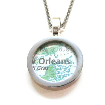 New Orleans Louisiana Map Pendant Necklace