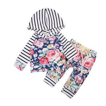 Baby Clothing  Floral Newborn Baby Girls Clothes Hooded Tops +Pants Home Outfits 2Pcs Set 0-24M