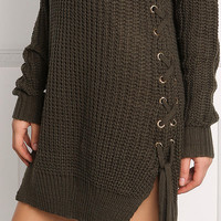 Olive Side Lace Up Thick Sweater Dress