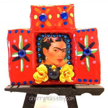 Frida Kahlo Paper Mache Matchbook-Day of the Dead Decoration-Dia de los Muertos Nicho
