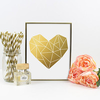 Gold Foil Print - Geometric Heart. Modern Home Decor. Heart Poster. Minimal Art. Bedroom Art. Modern Wall art. Real Gold Foil. Anniversary.