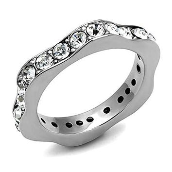WildKlass Stainless Steel Ring High Polished (no Plating) Women Top Grade Crystal Clear