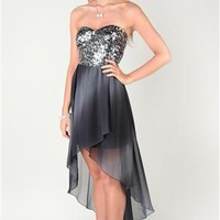 Ombre Chiffon Strapless Homecoming Dress with High Low Tulip Skirt