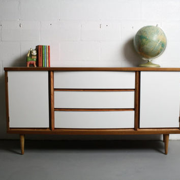 60's Mid Century Modern Bassett Credenza Reworked w/ a Stunning One of a Kind Flair Danish Buffet