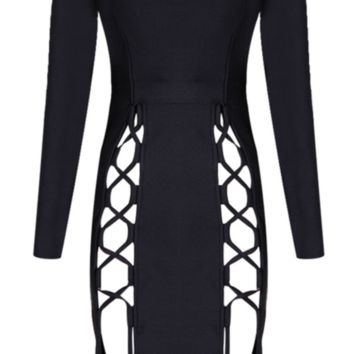 'Relia' Lace-Up Bodycon Dress - Black