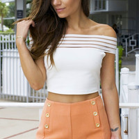 High Waisted Button Shorts - Peach