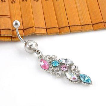 ac ICIKO2Q New Stainless Steel Colorful Rhinestone Crystal Belly Button Ring Dangle Navel Body Jewelry Piercings Tassel Free shipping