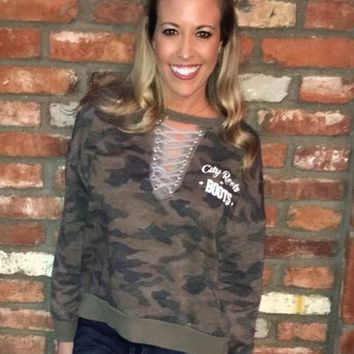 """City Roots in Boots"" Women's Camo Sweater with Rope Detailing"