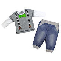 Babyrageous Boys 2 Piece Light Grey Faux Suspenders and Bow Tie Top and Faux Jean Jogger Pant Set