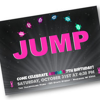 Trampoline Birthday Invitation Party Boys Jump Pink bounce house trampoline party girls birthday printable 5x7 digital download sky zone