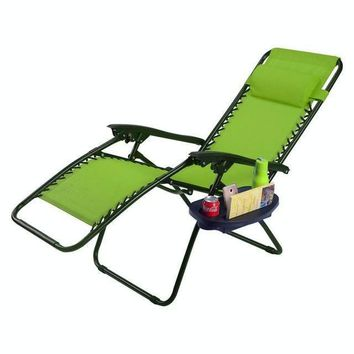 Zero Gravity Outdoor Reclining Lounge Chair with Utility Tray