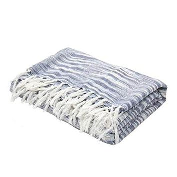 Ben and Jonah So Soft Throw Blanket With Fringes (Indigo/Ivory)