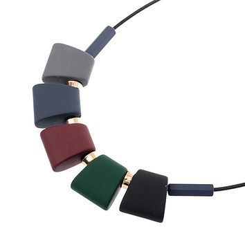Colorful Wooden-Bead Necklace