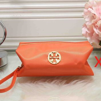 Tory Burch Fashionable Women Zipper Toiletry Handbag Cosmetic Bag Purse Wallet Orange