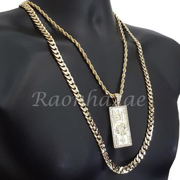 "MENS $100 HUNDRED DOLLAR ROPE CHAIN DIAMOND CUT 30"" CUBAN CHAIN NECKLACE SET G40"