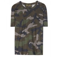 Camouflage-printed cotton T-shirt