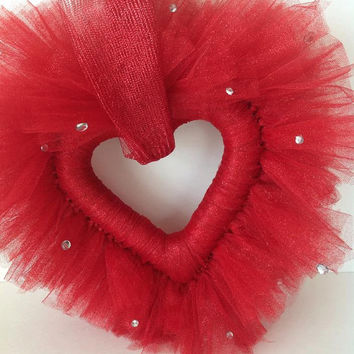 Tutu Heart Wreath, Valentine's Wreath, Front Door Decor, Heart Tulle Wreath, Holiday Wreath