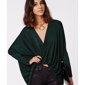 Missguided - Dakota Wrap Front Jersey Top Deep Green