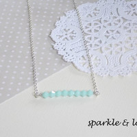 Mint Green Good Luck Swarovski Crystal Sterling Silver Necklace