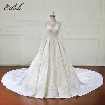 Eslieb Vestido De Noiva Long Sleeve Princess Wedding Dresses 2018 Vintage Appliques Beaded Lace Ball Gown Bridal Gown Plus Size