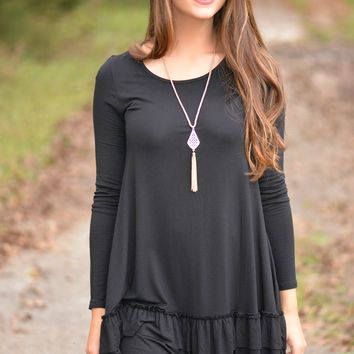 Double the Fun Black Ruffle Top