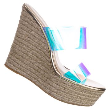 Choice70 Clear Espadrille Platform Wedge Sandal - Iridescent PVC Slide In Shoes