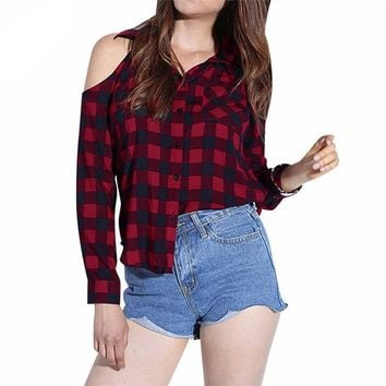 FEITONG Plaid Blouse New Arrival Women's Casual Turn Down Neck lattice Loose Tops With Thumb Holes Red Patchwork Shirt