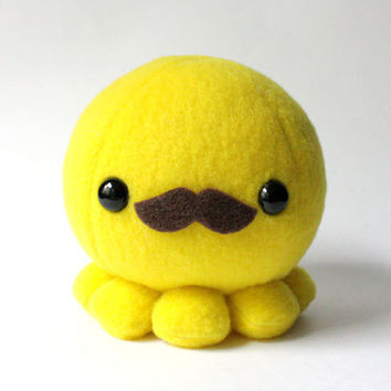 Yellow Octopus Plush with Moustache by cheekandstitch on Etsy