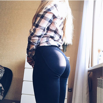 Low Waist 'Push Up' Elastic Leggings