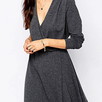 Gray Wrap Plunge Elastic Waist Ruched Long Sleeve Dress
